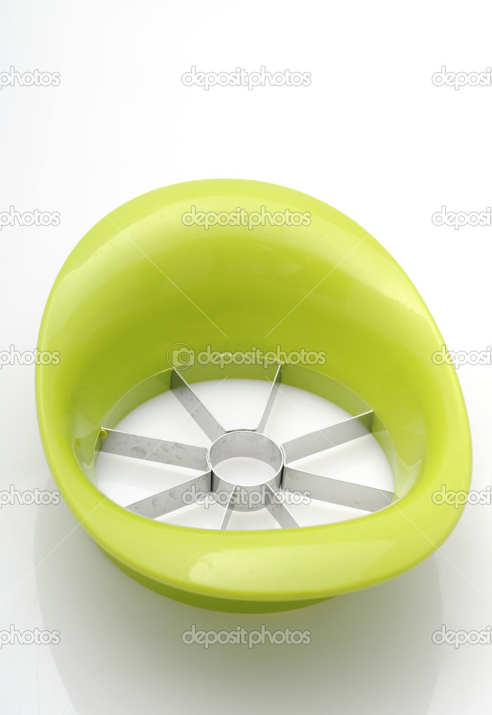 Green apple cutter or corer isolated on white — Stock Photo #11902774