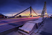 Krymsky bridge through Moscow-river — Stock Photo