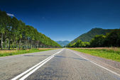The direct road leading into the mountains. — Stock Photo