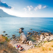 Camping on the Black Sea. Bay of Laspi. Crimea — Stock Photo