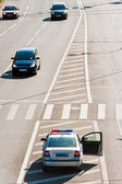 The car traffic police on duty service raddilitelnoy line highway — Stock Photo
