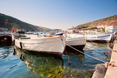 Boats in the harbor city Baloklava. Crimea — Stock Photo