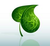 Decorative green leaf — Stock Vector