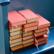 Stock Photo: Bibles on blue pew