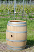 Wine barrel near vineyard — Stock Photo