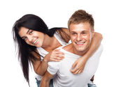 Happy young couple in casual clothing — Stock Photo