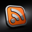 3D RSS Symbol on black background - Stock Photo