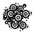 Abstract 3D Black Circles on white background — Stock Photo