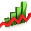 Green 3D graph with red arrow — Stock Photo