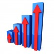 Blue 3D graph with red arrows — Stock Photo #10964134