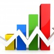 Four colored 3d graph with white arrow — Stock Photo