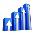 Blue 3D Graph with white arrows — Stock Photo