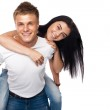 Happy young couple in casual clothing — Stock Photo #10964331