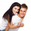 Happy young couple in casual clothing — Stock Photo #10964335