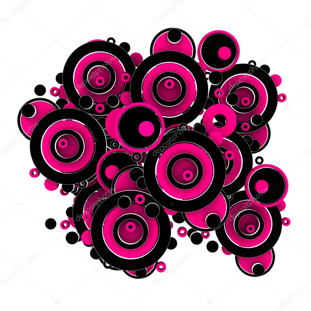 Pink and Black Circles on white background — Stock Photo #10964119