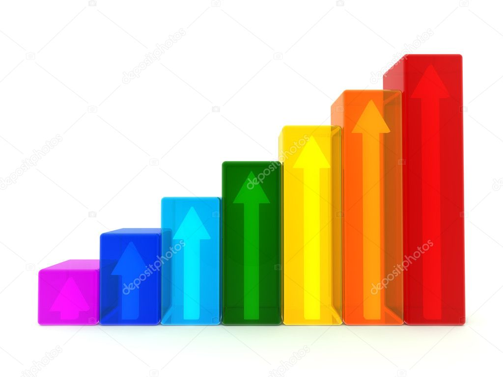 Translucent 3D graph with arrows inside on white background — Stock Photo #10964158