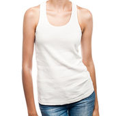 White t-shirt on a young woman template — Stock Photo