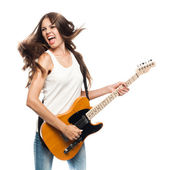 Beautiful young woman with electric guitar — Stock Photo