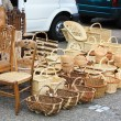 Wooden and rattan objects for sale — Stock Photo