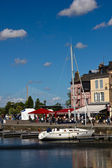 Honfleur and Normandy bridge — Stock Photo
