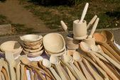 деревянные кухонные предметы — Стоковое фото