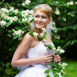 Happy bride in wedding dress and branch with white flowers — Stock Photo #10804599