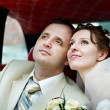 The bride and groom in a wedding limousine — Stock Photo