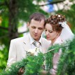 Happy bride and groom at wedding walk — Stock Photo #10831304