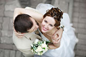 Happy bride and groom at wedding walk — Foto de Stock