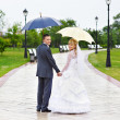 Happy Bride and groom at wedding walk in park — Stock Photo #10849057
