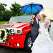 Royalty-Free Stock Photo: Happy bride and groom at wedding walk around red limousine
