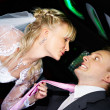 Humorous picture bride and groom — Stock Photo