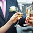 A toast to newlyweds at wedding — Stock Photo