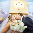 Bride and groom in interiors of marriage palace — Stock Photo