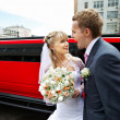 Humorous picture bride and groom on red limo — Stock Photo #10853282