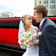 Stock Photo: Humorous picture bride and groom on red limo