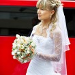 Stock Photo: Happy bride about red limo