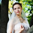 Beautiful bride in wedding dress stands near tree in park — Stock Photo #10885616