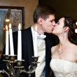 Romantic wedding kiss — Stock Photo