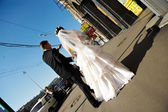 Bride and groom at a wedding walk in the city of Moscow — Stock Photo