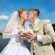Kiss the bride and groom — Foto Stock