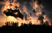 Sunset above factory — Stock Photo