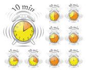 Ensemble horloge minuterie — Vecteur