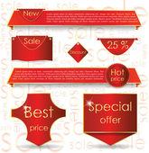 Red web design banner sale for website — Stock Vector