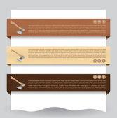 Wood textured website banner with ax — Stock Vector