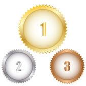 Gold silver bronze seal — Stock Vector