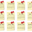 Calendar for 2013 on sticky notes - Imagen vectorial