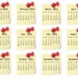 Calendar for 2013 on sticky notes - Vektorgrafik