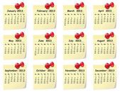 Calendar for 2013 on sticky notes — 图库矢量图片