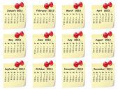 Calendario para 2013 en notas adhesivas — Vector de stock